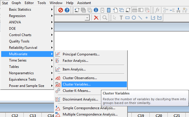 cluster variables Minitab 1 spss-analysis.ir